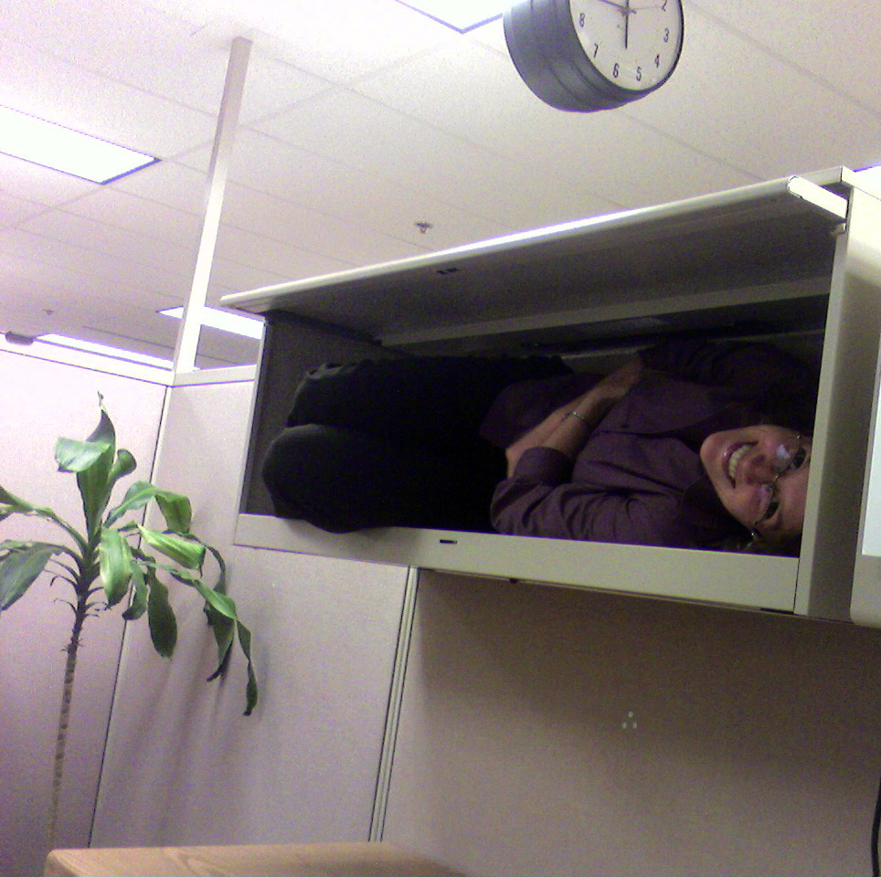 Flexible woman in cubicle cabinet