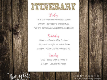 Hostess with the Mostest: Itinerary Inspiration