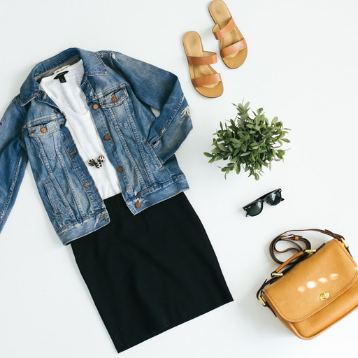 Denim jacket, pencil skirt