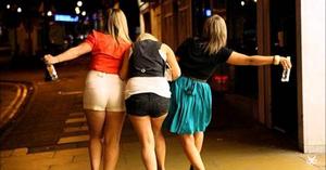 Drunk women having fun night out