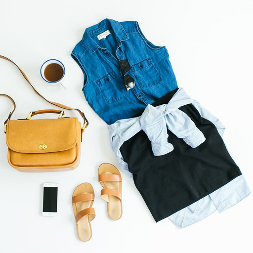 Denim top, small bag, sandals