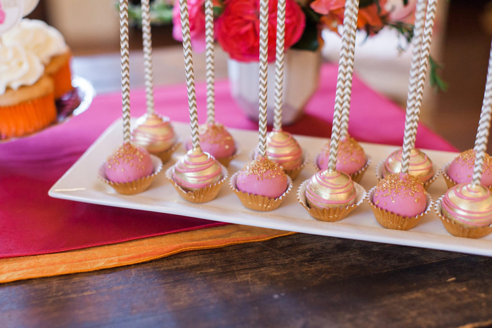 Pink and gold cake pops from Nashville Sweets