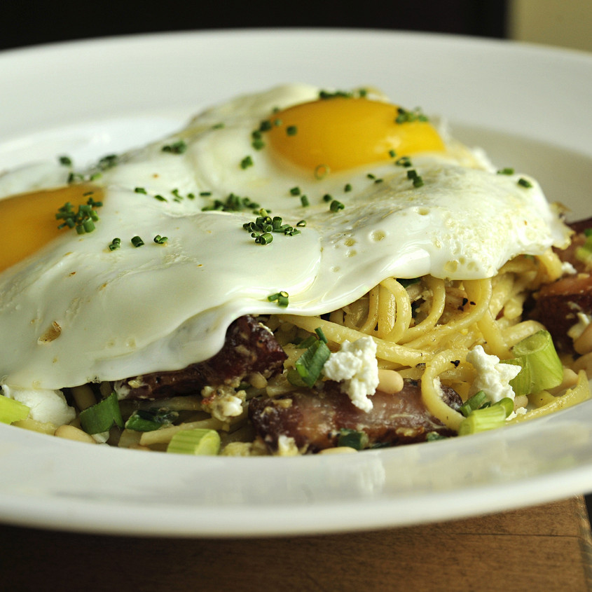 Bacon, Egg and Cheese Pasta
