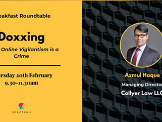 """Managing Director Azmul Haque speaks on the topic: """"Doxxing - When Online Vigilantism is a Crime"""""""