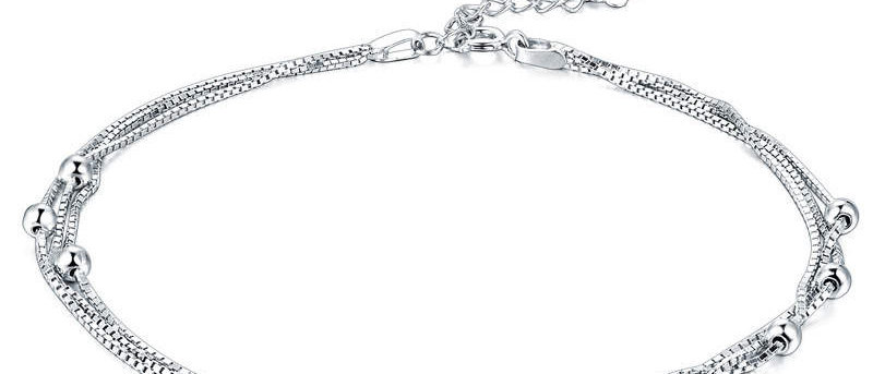 Silver Bead Layered Anklet
