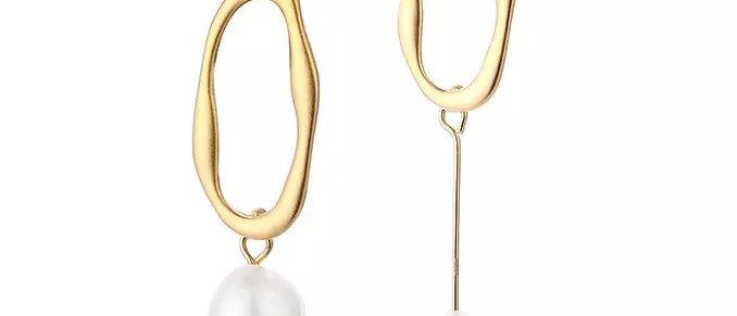Asymmetric Pearl Drop Earring