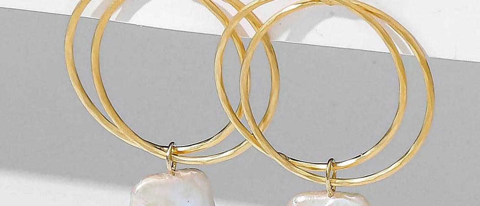 Double Ring Pearl Drop Earring
