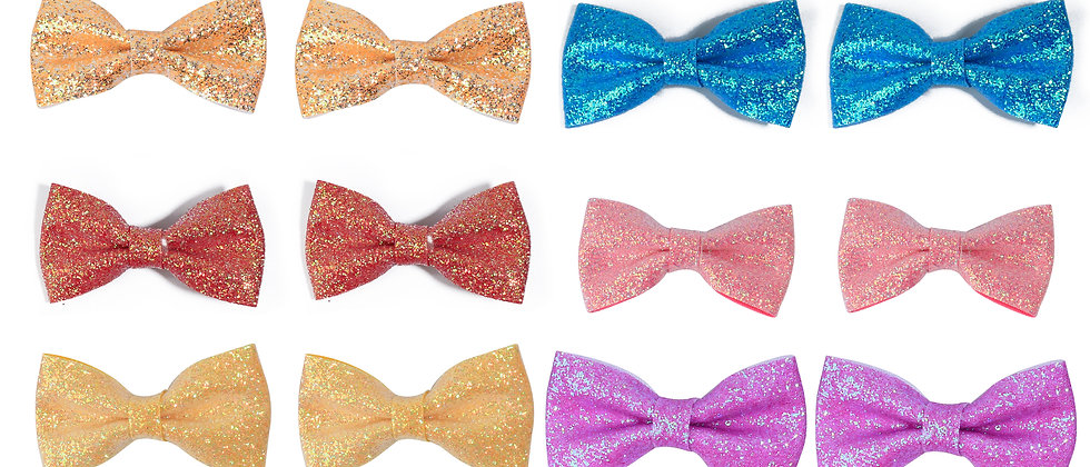 Set of Two Glitter Bow Clip for Kids
