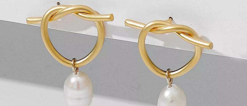 Twig Pearl Drop Earring
