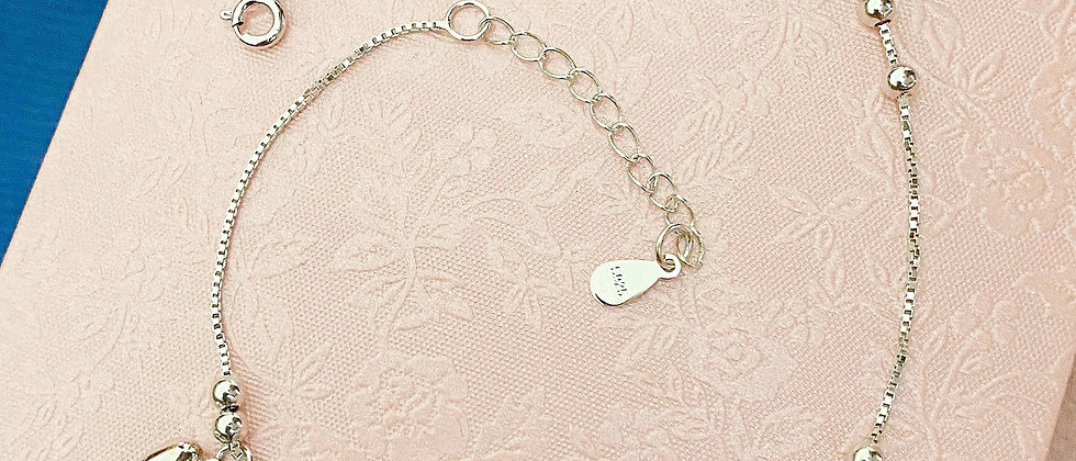 Heart Charm Silver Anklet