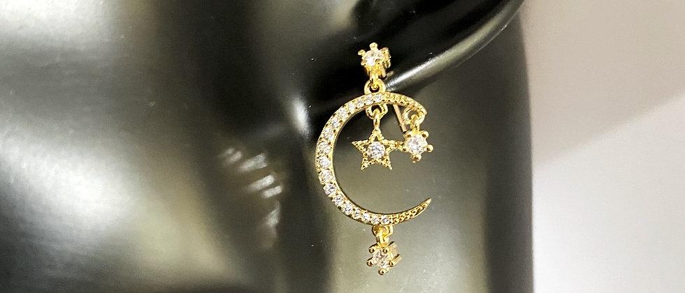 Star drop moon earring