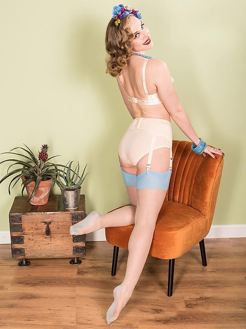 Champagne/Sky Blue Seamed Stockings
