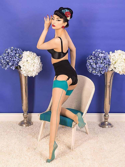 Champagne/Teal Seamed Stockings