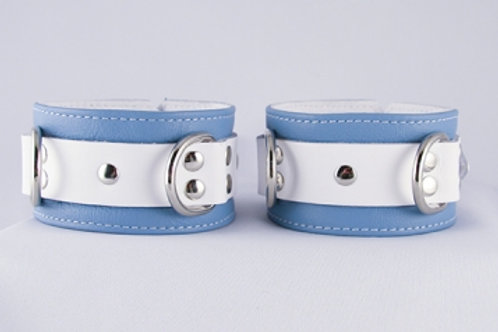 Crystal Blue Ankle Cuffs | Aslan Leather