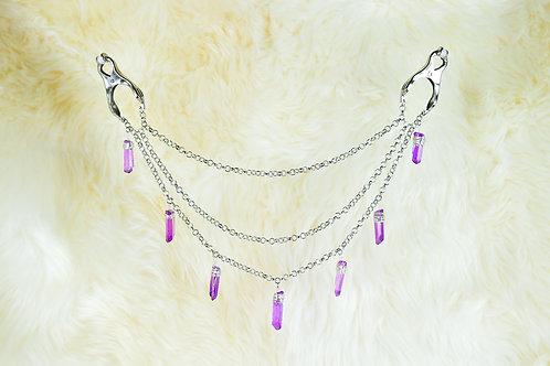 Purple Crystal Nipple Clamps