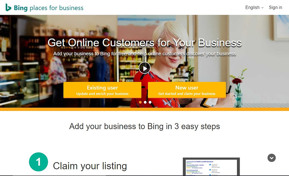 Bing place for business: take your business online free