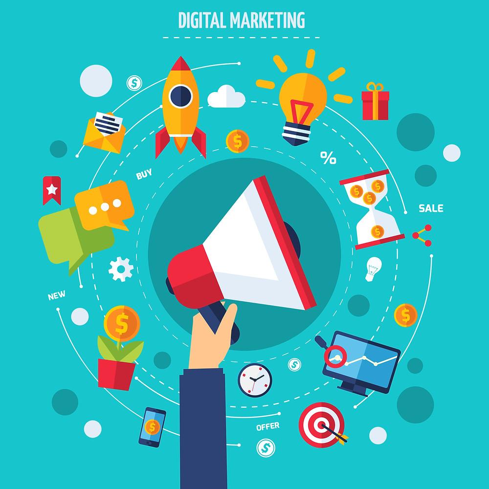 Illustrator showing digital marketing
