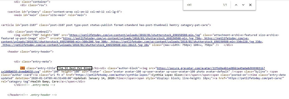 Viewing the page source of a random web page to find H1 tag: On-page SEO checklist