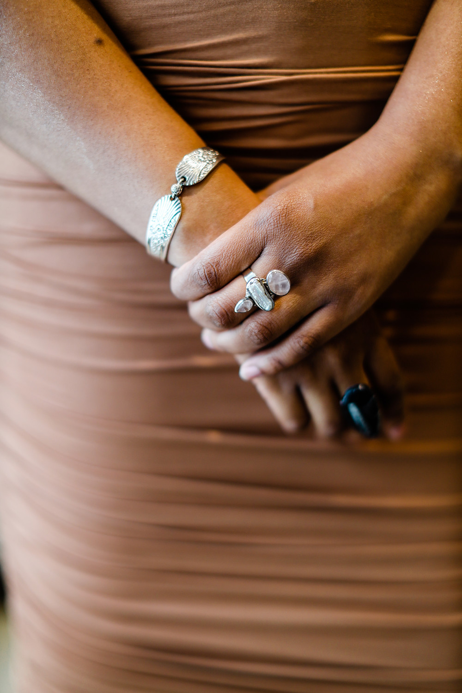 Wearing Vintage Original Rogers Spoon Bracelet, Mermaid Ring, Fossil Ring, Lula Flower Earrings, and Argento Vivo Chocker