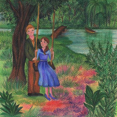 Ilustração em lápis de cor e pastel seco, original