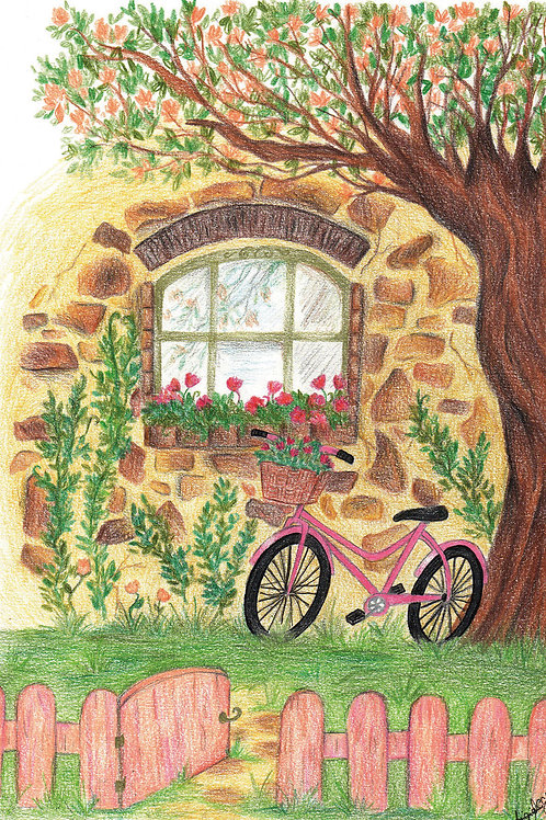 Ilustração Casa (lápis de cor), original
