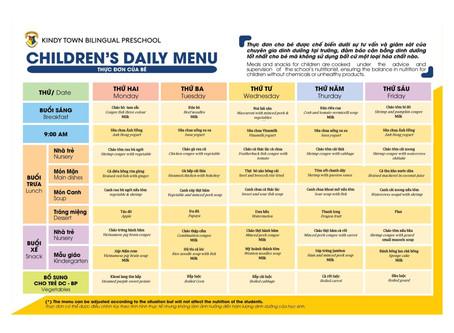 Thực đơn dinh dưỡng tháng 4 từ ngày 01 đến 28 tháng 04/2019