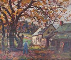 Reg Wilcox Raking Leaves
