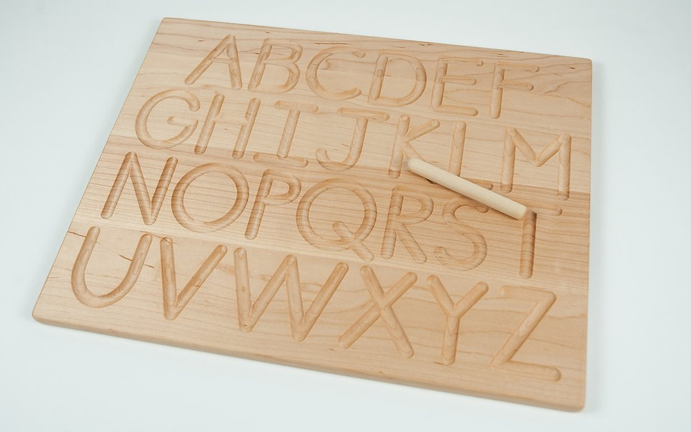 Alphabet tracing boards for young children learning to write.