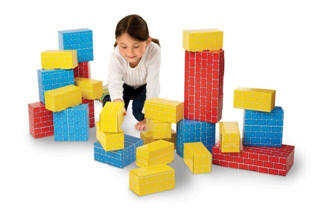 Cardboard building blocks for young children.