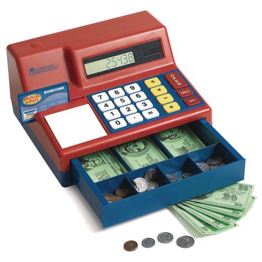 A toy cash register for Preschool and kindergarten children.