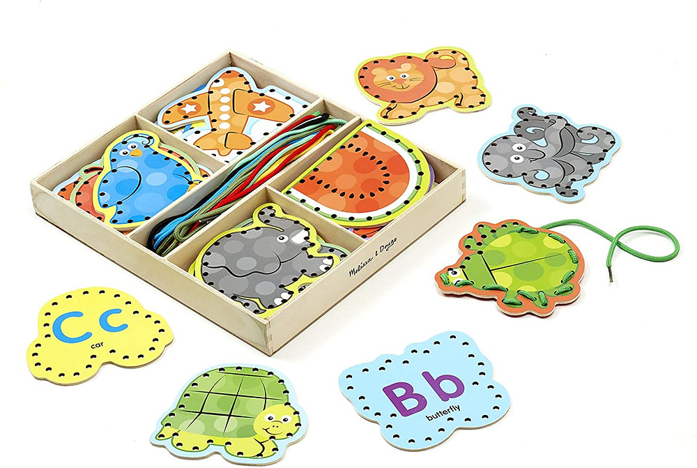 Lacing cards are a great educational toy for preschoolers.