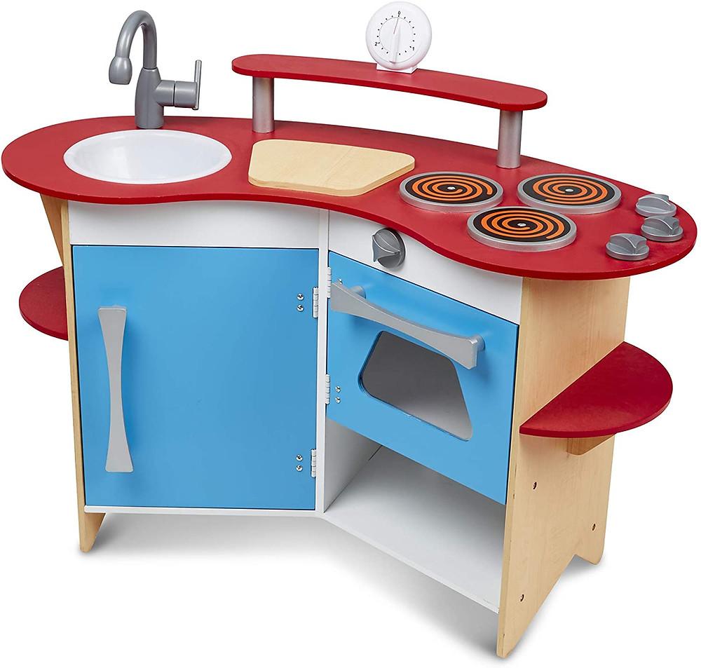 A wooden play kitchen for preschool children.