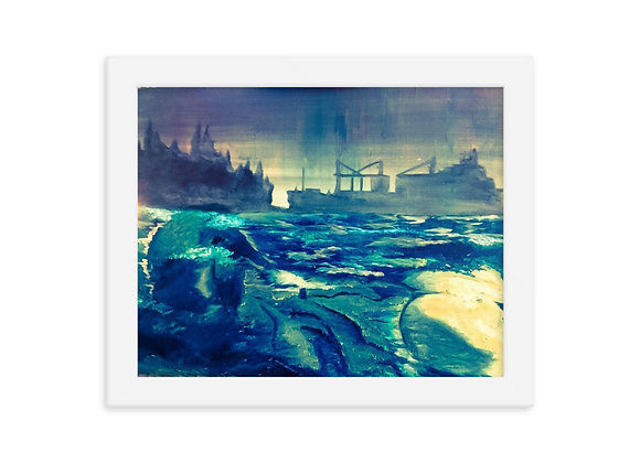 Man and Ship Framed Poster Print