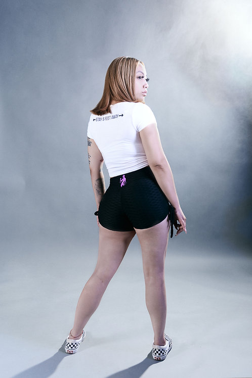 Textured Shorty Shorts-Black