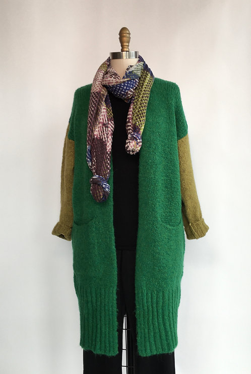 Color Block Chunky Open Cardigan