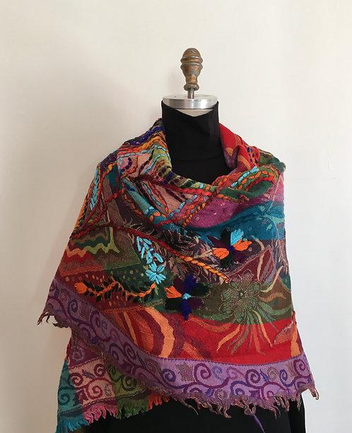 Bright Multicolored Embroidered Shawl