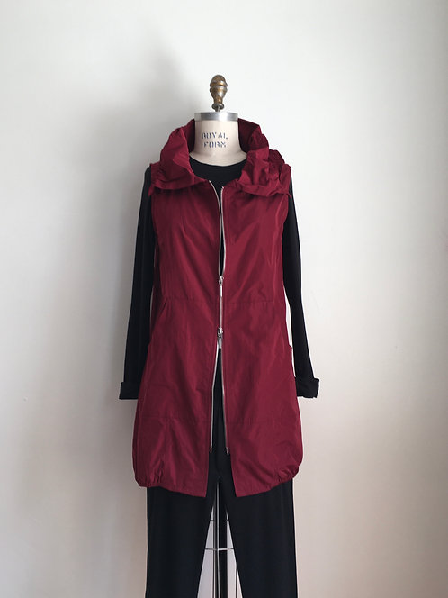 Long Bubble Nylon Vest with Wired Collar