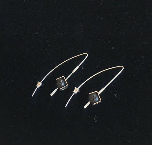 Housed Lava Cube Earring