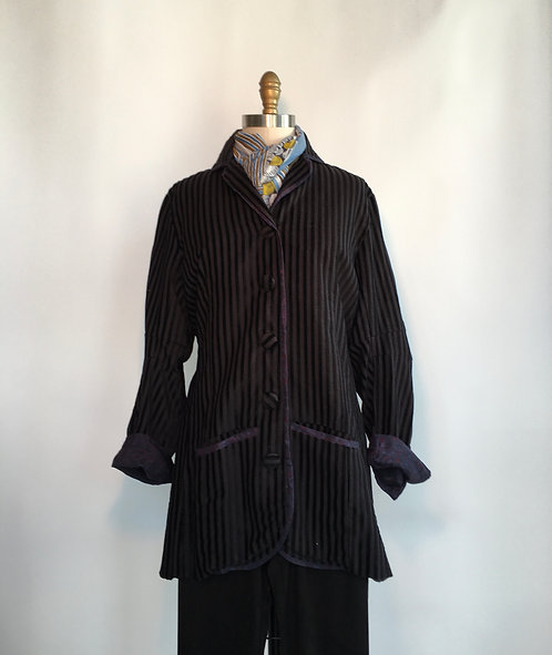 Burnout Velvet Striped Jacket with Dark Blue Piping