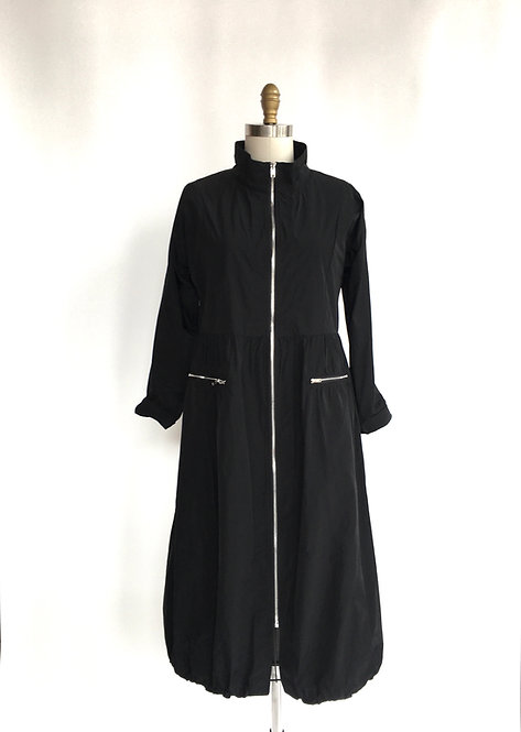 Sun Kim Long Dress with Zippered Front and Gathered Bottom