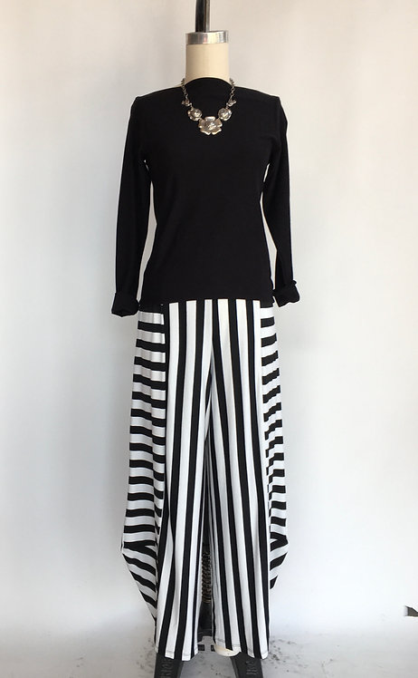 Black and White Striped Lantern Pant with Elastic Waist