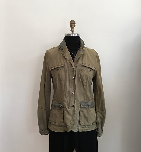 """Distressed """"Army"""" Jacket with Vegan Leather Collar"""