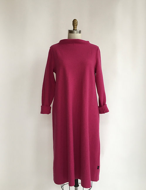 Light Weight Boiled Wool Dress with Boatneck