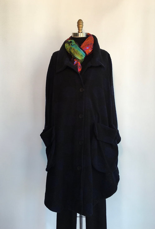 Black Button Up Coat with Large Navy Dots
