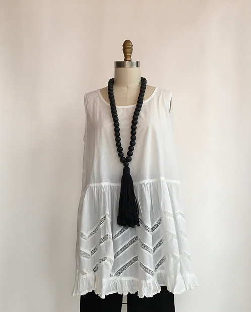 Long Cotton Sleeveless Top with Ruffled Bottom and Lace Insets