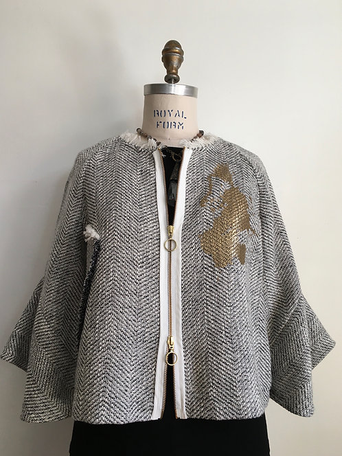 Short Herringbone Tweed Zip Front Jacket with Sparkle