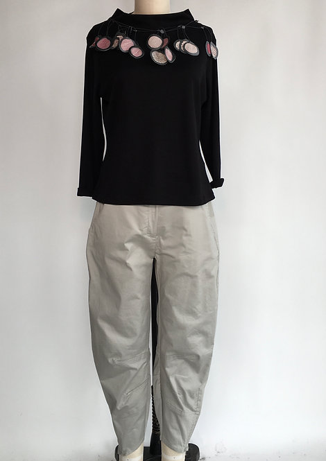 Heavy, Crisp Cotton Pant with Ankle Zips