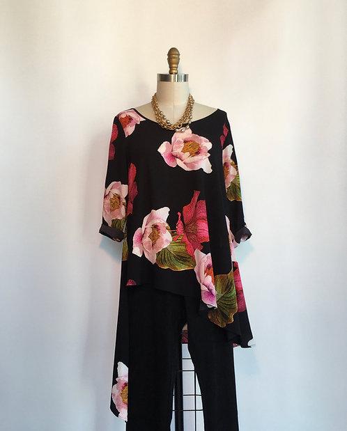 Asymmetrical Tunic in Large Flower Print