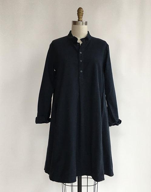 Mandarin Collar A-line Dress in Brushed Cotton
