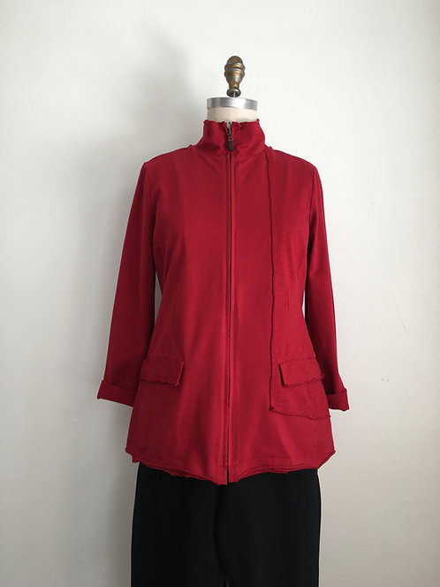 Fitted Zip Front Jacket with Side Panel